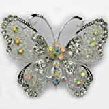 """Elixir77UK NEW 2.8"""" LARGE SILVER COLOUR BUTTERFLY BROOCH with PLAIN and AB RHINESTONE DIAMANTE CRYSTALS WEDDING BRIDAL BROACH"""