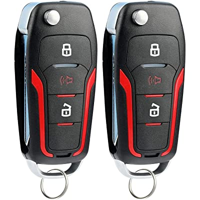 KeylessOption Keyless Entry Car Remote Uncut Ignition Flip Key Fob for Ford Lincoln Mercury CWTWB1U345 (Pack of 2): Automotive