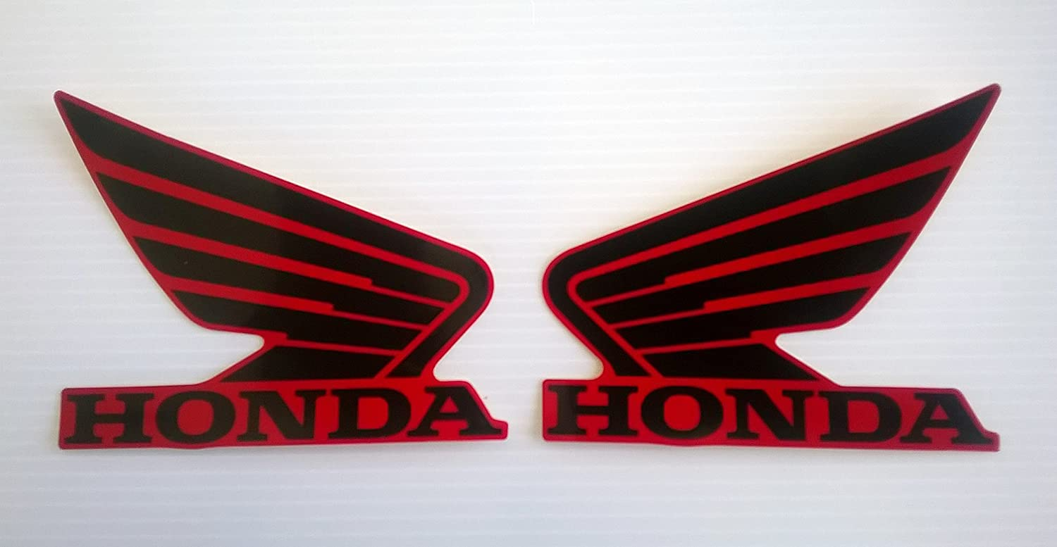 ROUGE Gauche Et Droit 100/% GENUINE Honda Ailes R/éservoir /À Carburant Essence R/éservoir Autocollants 2 x 85mm NOIR