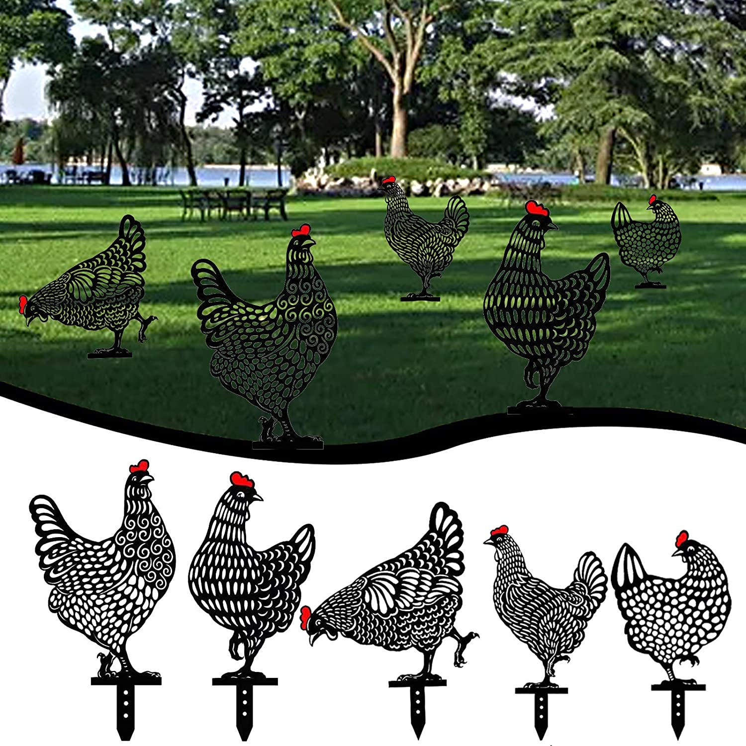 5PCS 10inch Acrylic Rooster Hen Decor, Hollow Out Rooster Animals Silhouette Statue Decor, Chicken Yard Art Garden Lawn Floor Decoration Ornament for Easter Outdoor Pathway Sidewalk Backyards