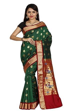 f34aecf3a9 Amazon.com: Indian Silks Paithani Handloom Pure Silk Saree(IS378): Clothing