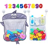 Comfylife Baby Bath Toy Organizer - Shark (2 Bath Toy Storage Nets, 8 Toy Numbers & 10 Strong Hooks) – Great Bath Net for Kid
