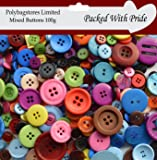 Pack of 100g - Mixed Sizes of Various Shaped Mixed Buttons for Sewing and Crafting