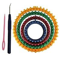 Curtzy Lot de 4 Métier à Tisser Ronds en Plastique - 4 Tailles Circulaire DIY Outil à tricoter - kit Craft Couture Outil pour Chaussette Écharpe Chapeau Tricoter - Fourni avec Instructions