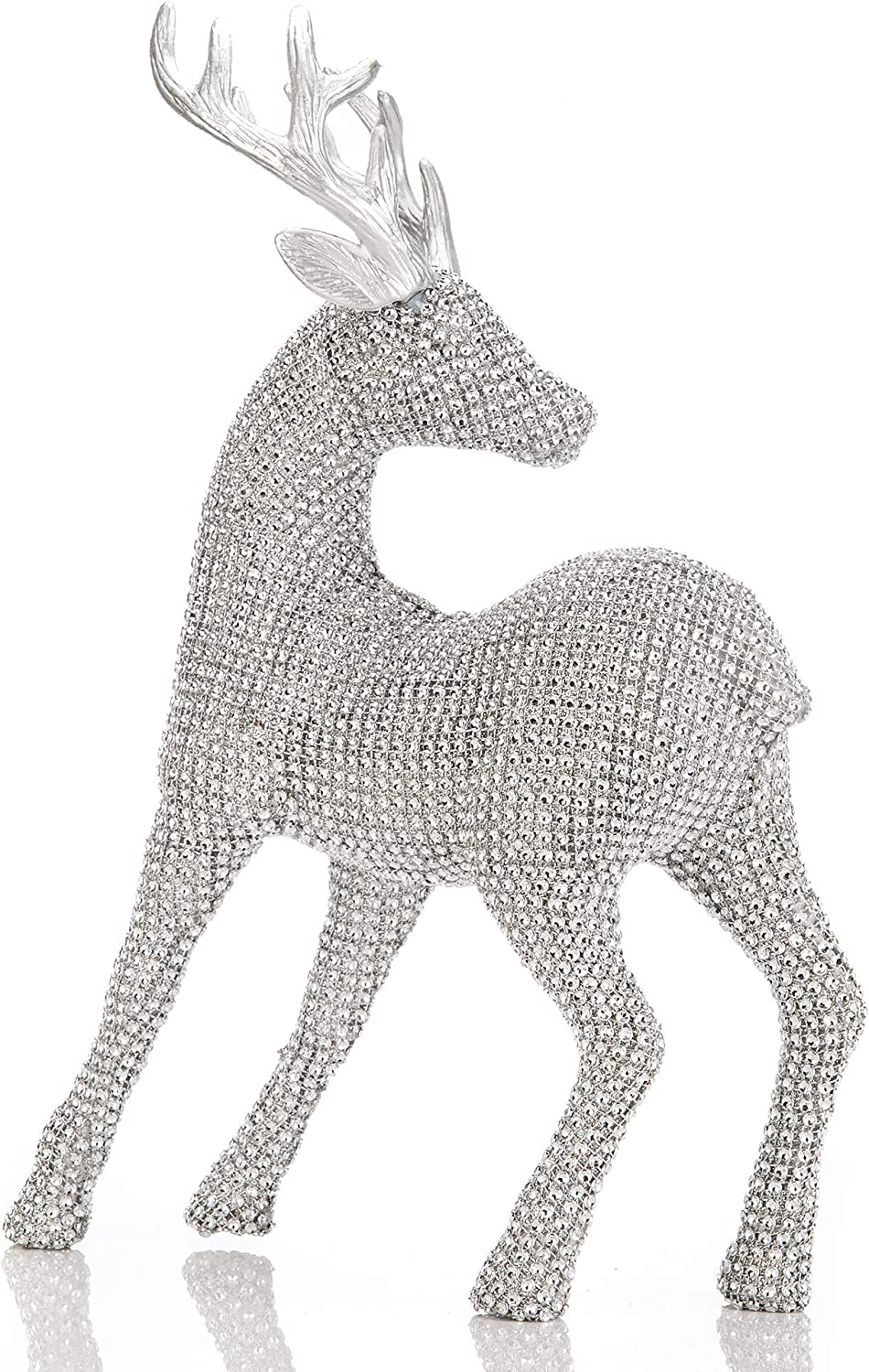 iPEGTOP Glitter Shiny Christmas Reindeer Holiday Figurine, 18 inch Large Table Desk Christmas Standing Deer Home Office Decor Statues Party Supplies, Silver
