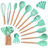 Complete Silicone Cooking Kitchen Utensil Set 22pcs Natural Bamboo Handles Non-Stick BPA-Free Non-Scratch Cookware W…