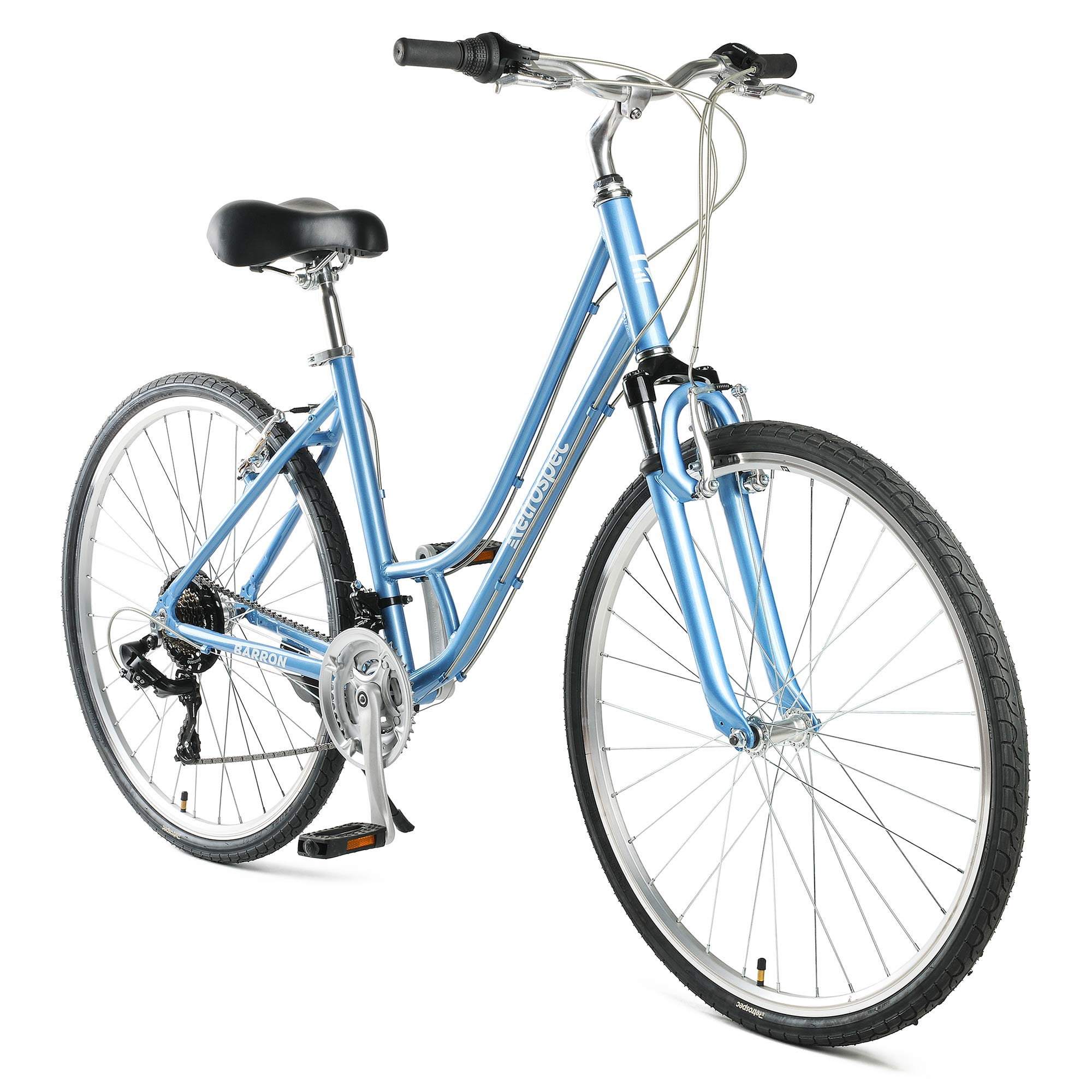 Retrospec Barron Comfort Hybrid Bike 21-Speed Step-Through with Front Suspension and 700c Wheels with Multi-Surface Tires; 16'' Small, Glacier Blue by Retrospec