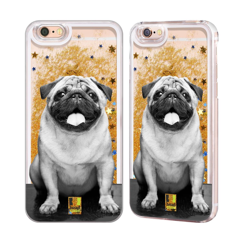 Head Case Designs Cute Male Pug Popular Dog Breeds Gold Liquid Glitter Case Cover for iPhone 6 / iPhone 6s