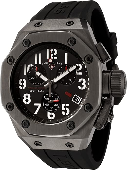 Mens 10541-GM-01 Trimix Diver Collection Chronograph Black Rubber Watch