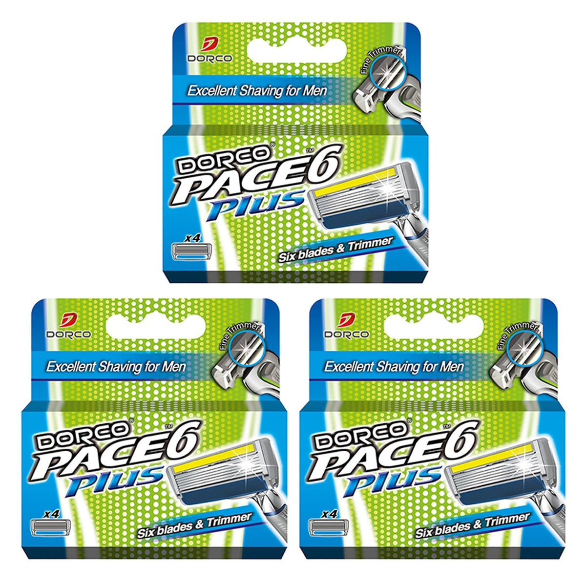 Dorco Pace 6+ Razor Manual Blades for Men - 12 Blades - Safe & Sensitive Shaving System with Trimmer product image
