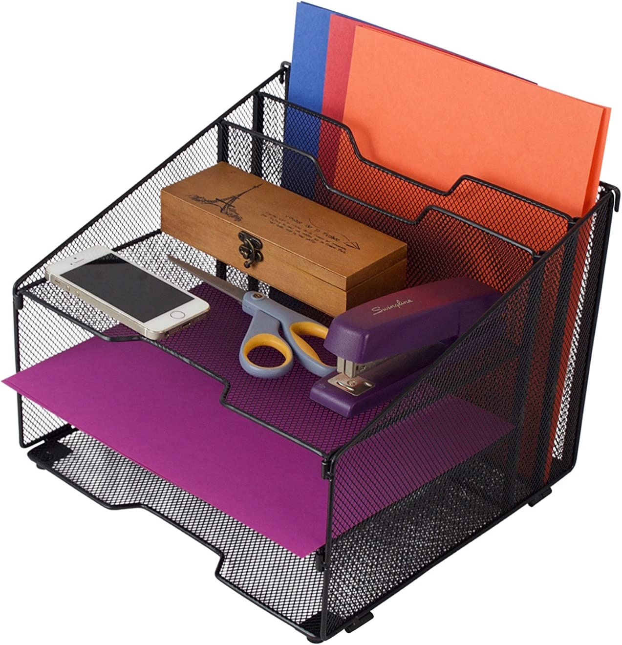 5-Compartment Metal Mesh Desktop File Sorter Desk Tray Organizer Black