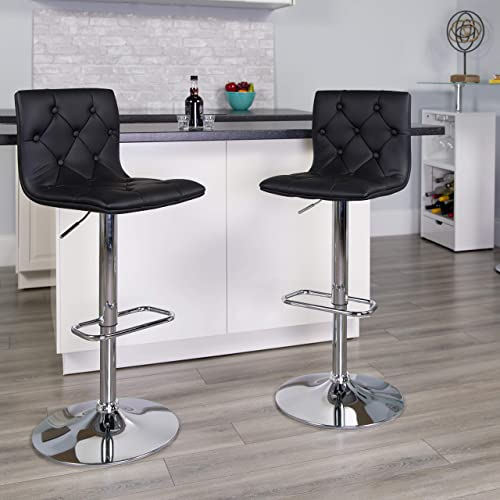 Flash Furniture 2 Pk. Contemporary Button Tufted Black Vinyl Adjustable Height Barstool with Chrome Base