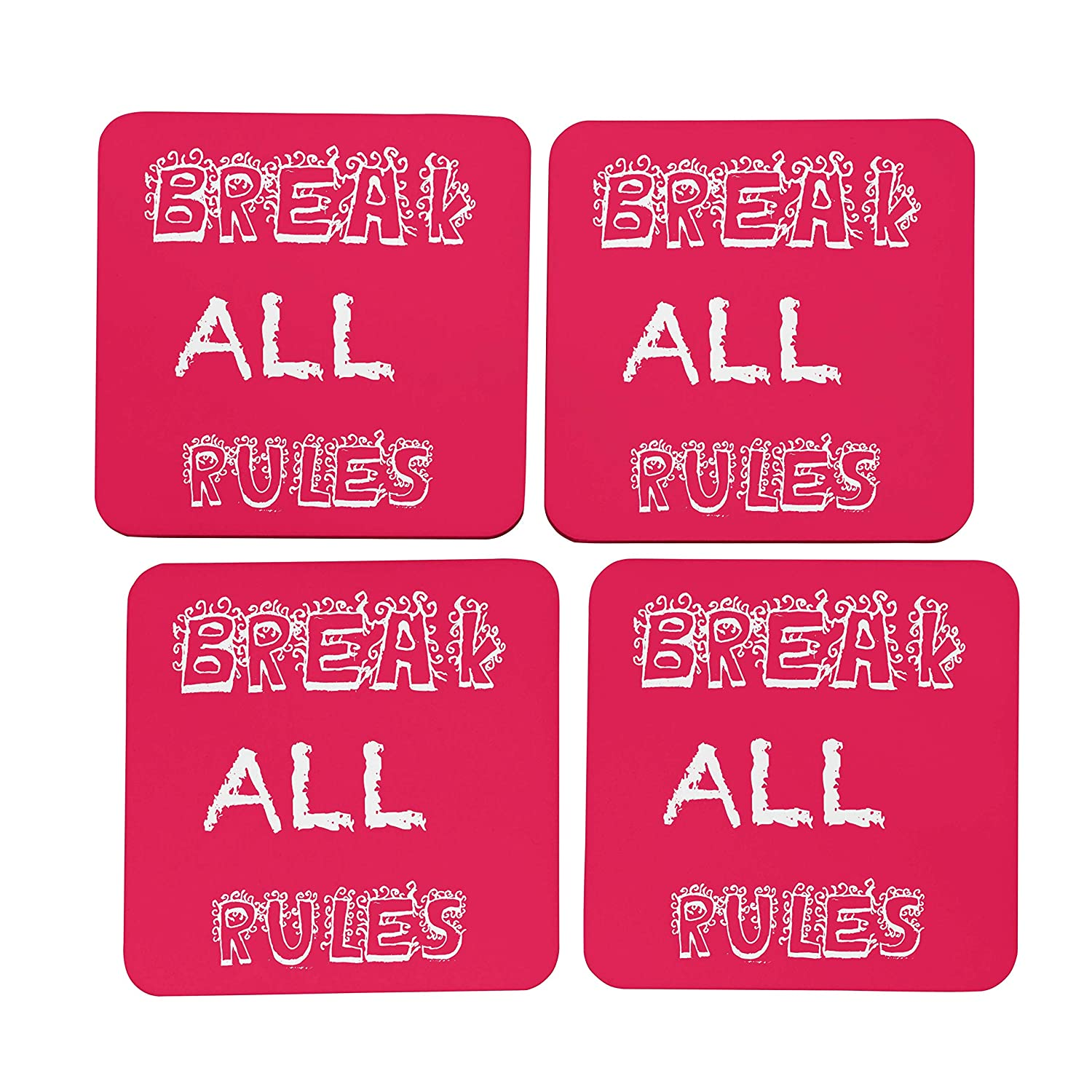 Buy Ikraft Wooden Tea Coaster Break All Rules Quotes Printed