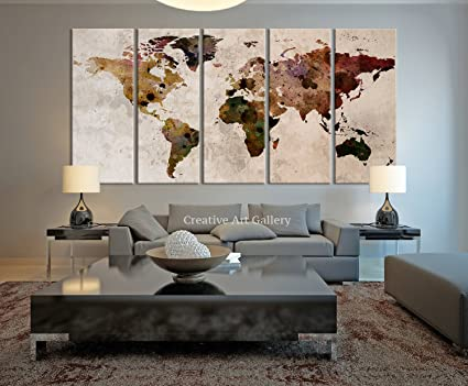 Amazon.com: Funy Decor Large Canvas Print Rustic World Map, Large ...