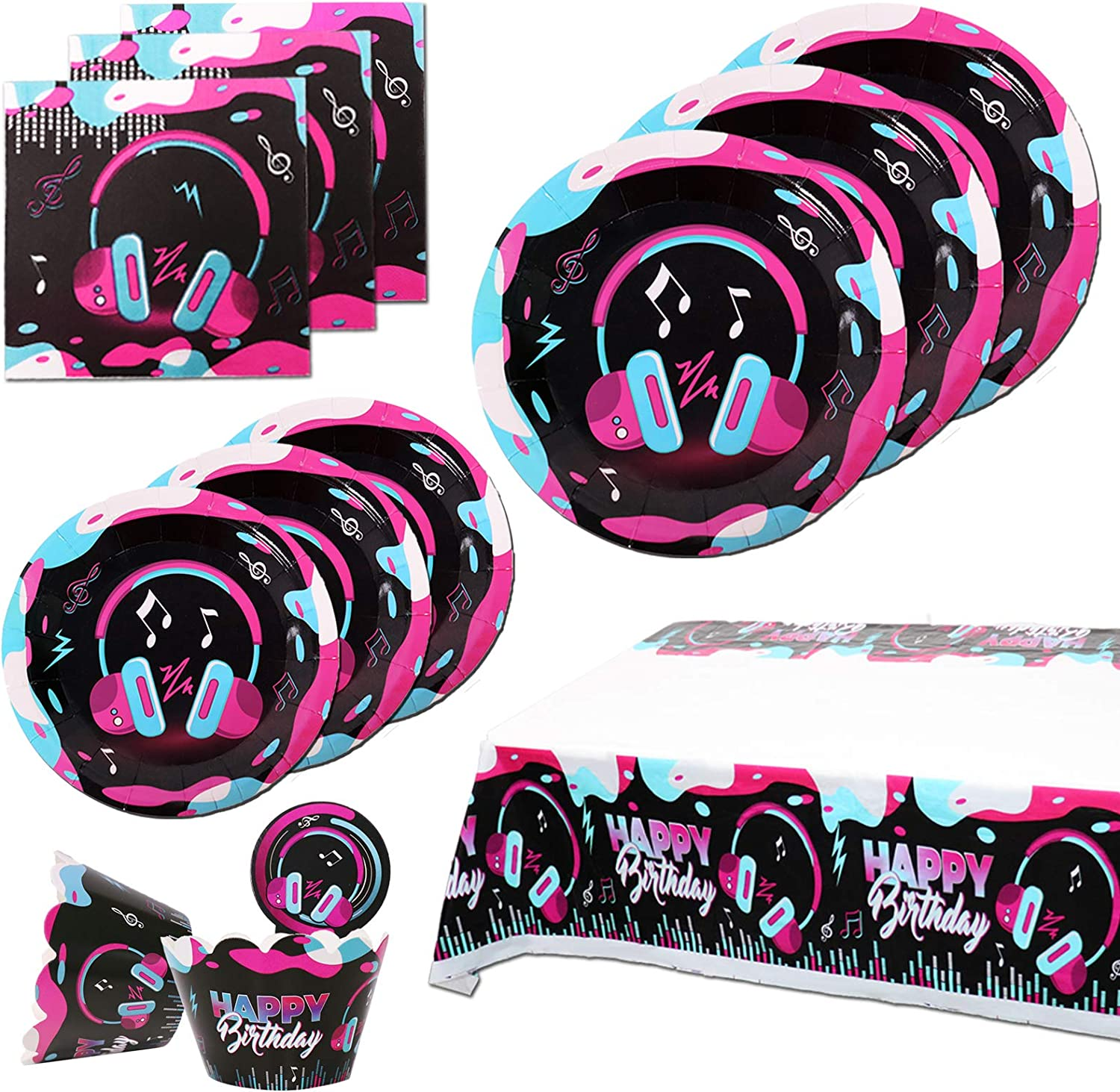 TIK Tok Party Decorations for Girls,TIK Tok Party Supplies Inclouding Music Plates,Cupcake Toppers, Cupcake Wrappers Tablecloth and Napkins for Music Themed Party Favors Serves 10 Guests