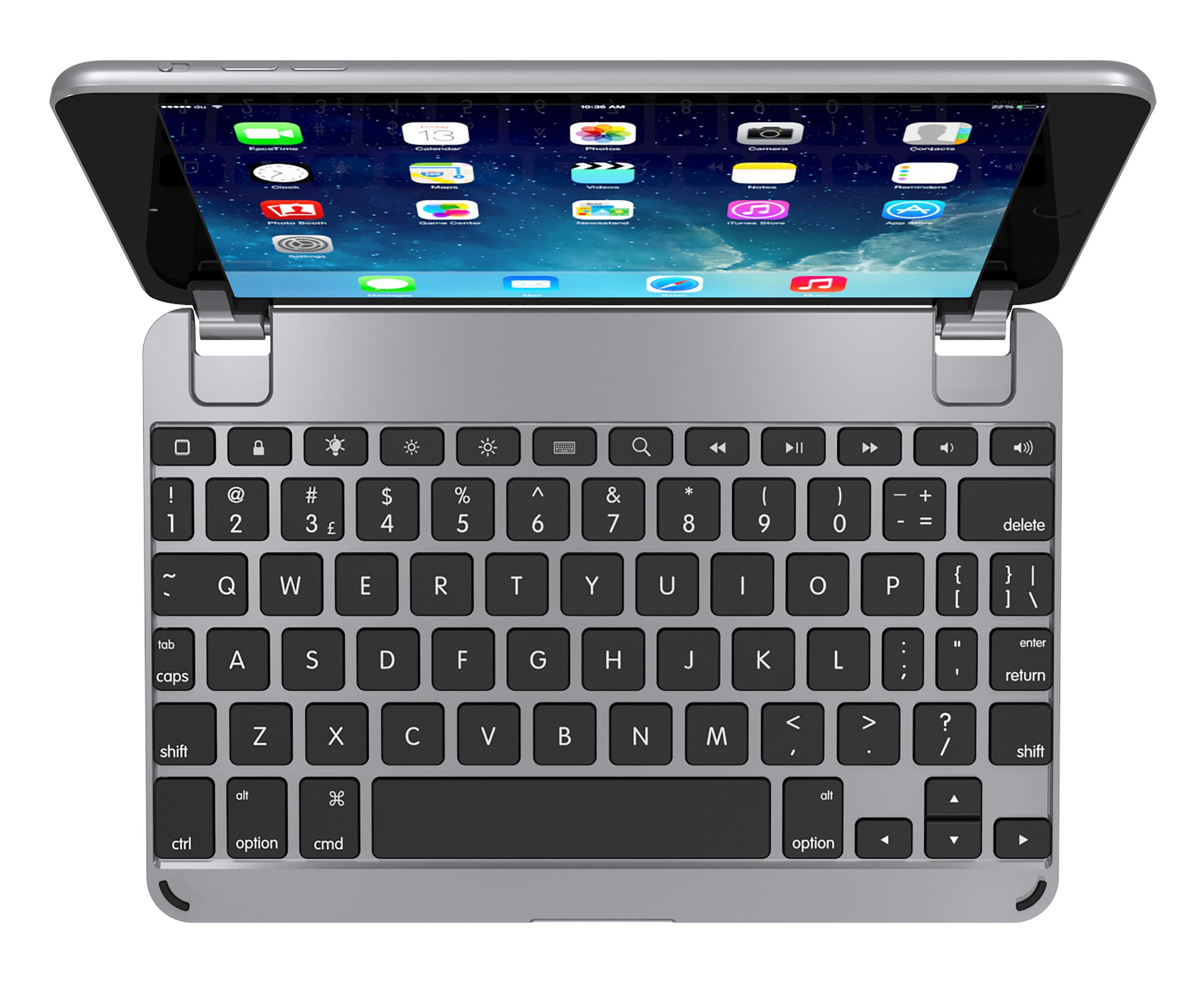 Brydge 7.9 Bluetooth iPad Mini 4 Keyboard. Backlit, Aluminum, Detachable, Rotating Hinges, 180 Degree Viewing. (Space Gray)
