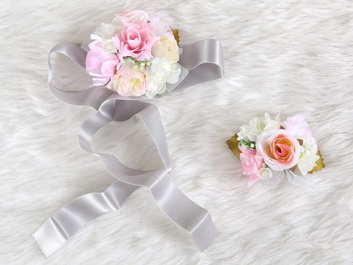 Wedding Prom Wrist Corsage Silk rose and Boutonniere Set Pin Ribbon Included (Pink Gray theme)
