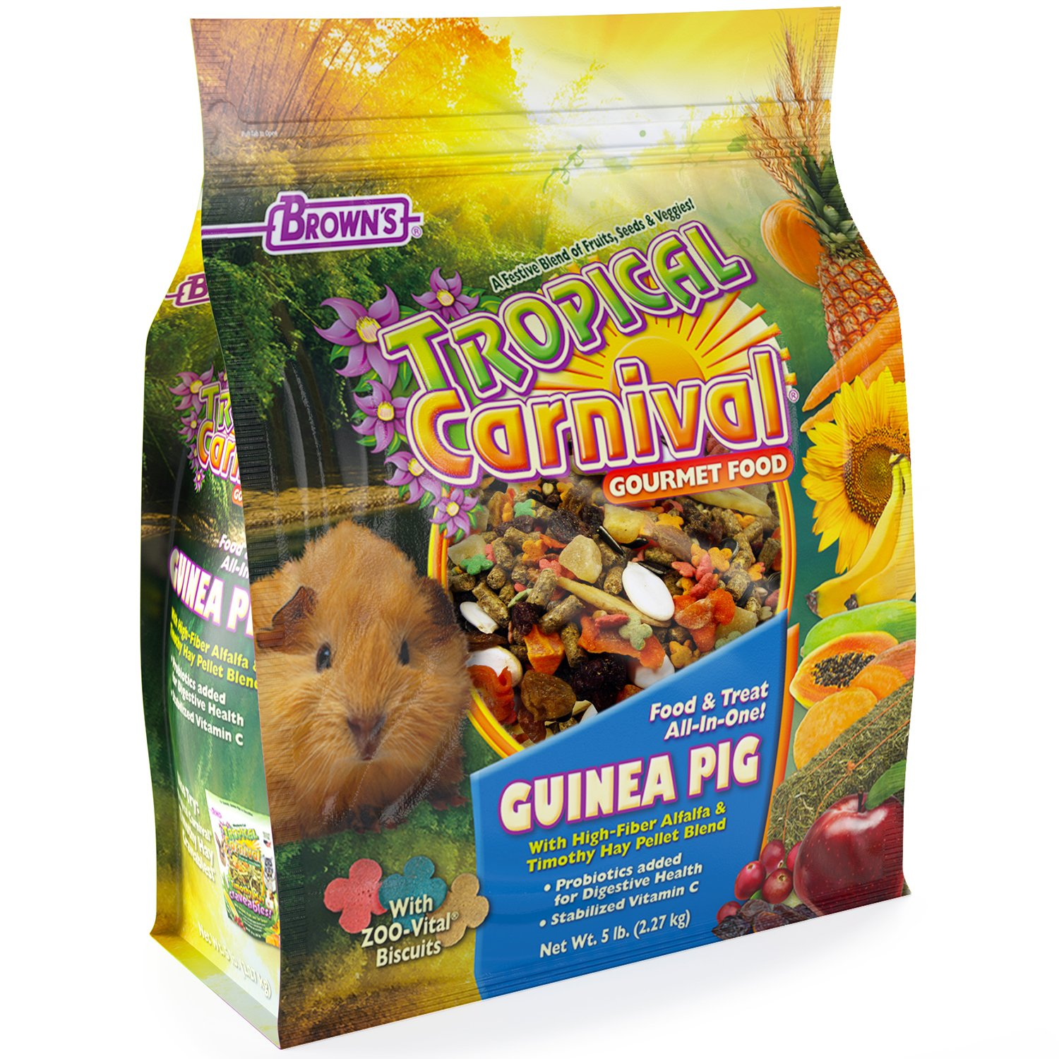 F.M. Brown's Tropical Carnival Gourmet Guinea Pig Food with Alfalfa and Timothy Hay Pellets - Vitamin-Nutrient Fortified Daily Diet by F.M. Brown's