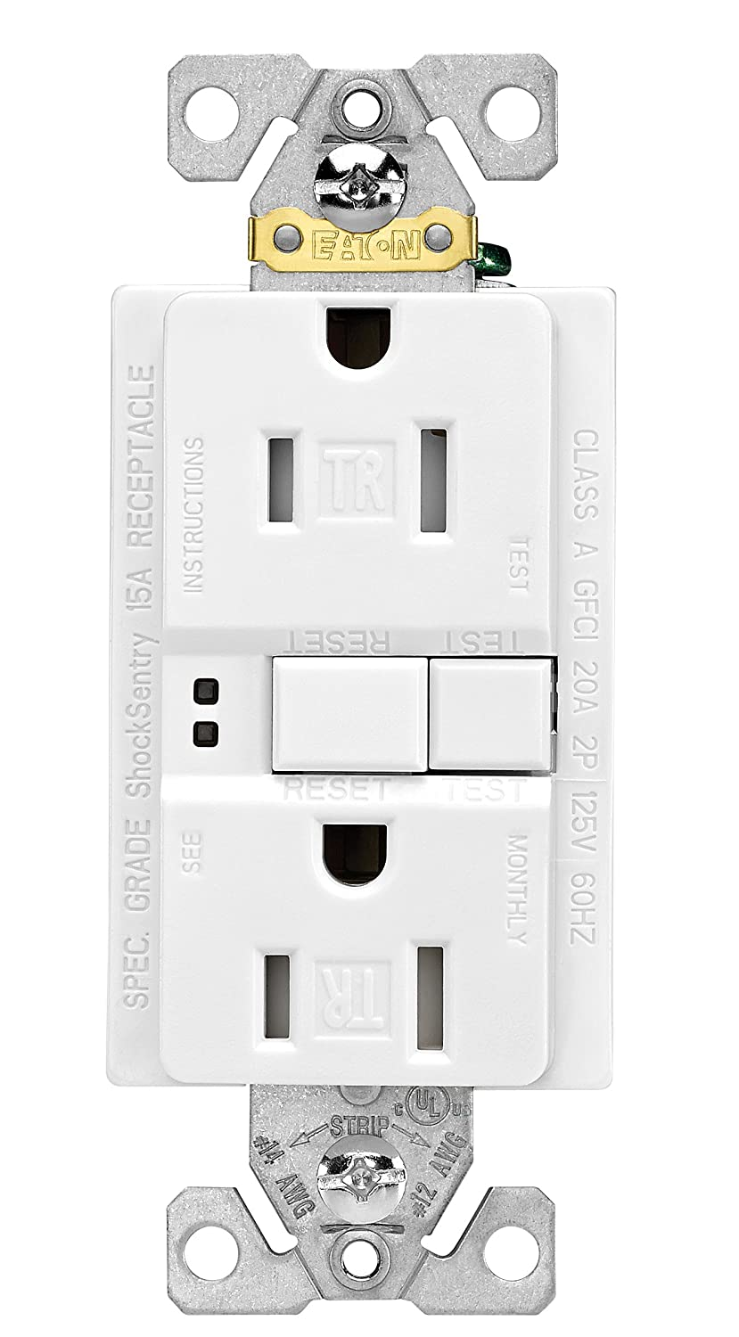 Eaton Gfci Self Test 15a 125v Tamper Resistant Duplex Receptacle 3 Gfi 15 20 Amp Tr Outlet Weather Pro Pack White