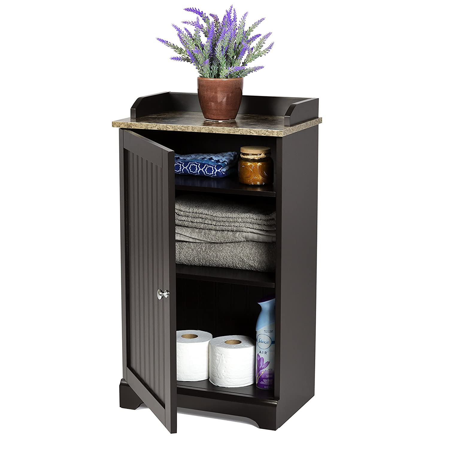Espresso Brown Best Choice Products Modern Contemporary Home Bathroom Floor Storage Organization Cabinet for Linens Toiletries 2 Adjusting Shelves Towels Versatile Door Soap w// 1 Bottom Shelf