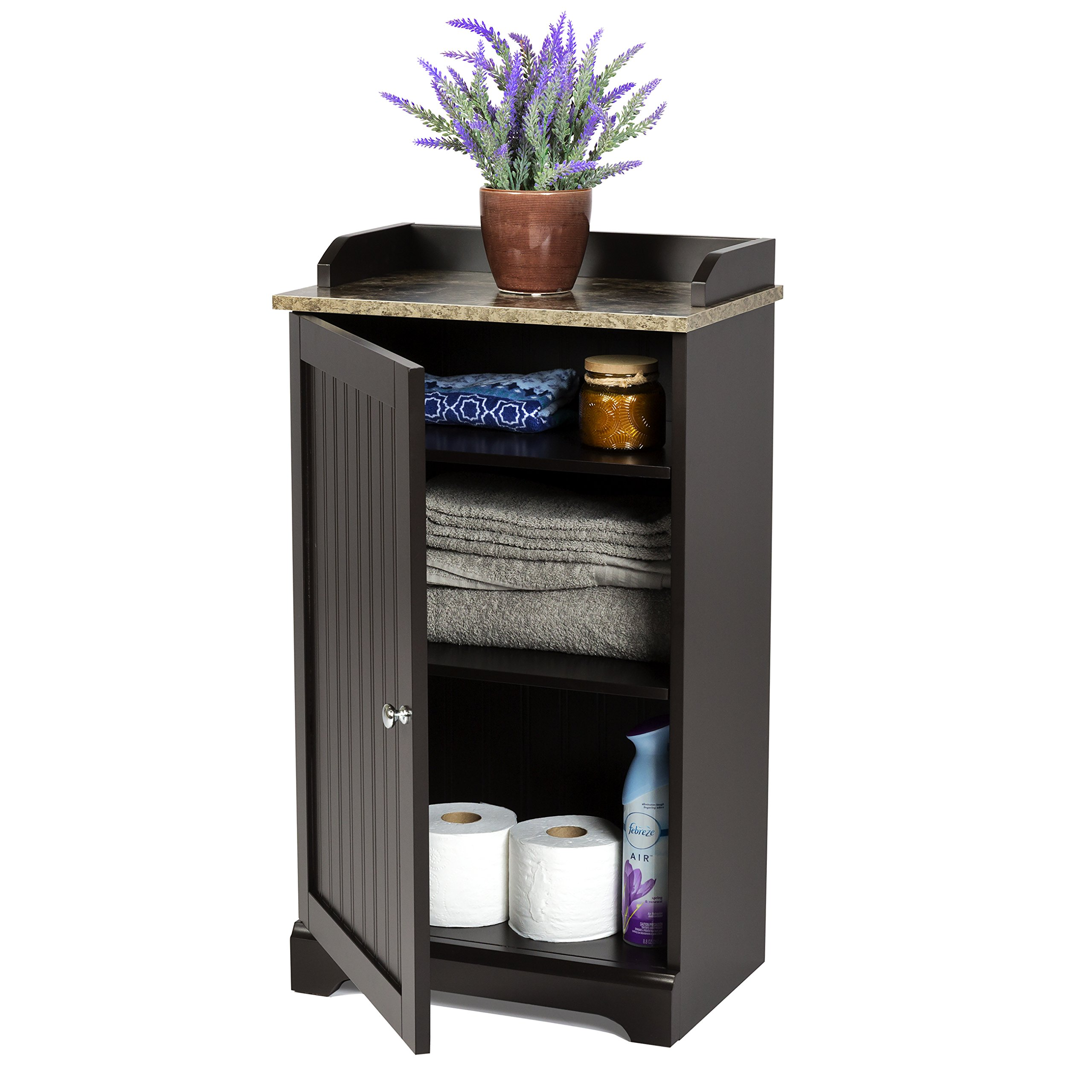 Best Choice Products Modern Contemporary Floor Cabinet Storage for Linens and Toiletries, Espresso by Best Choice Products