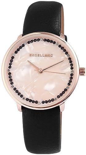 Reloj mujer Beige Negro Oro Nácar brillantes Analog piel Reloj de pulsera: Amazon.es: Relojes