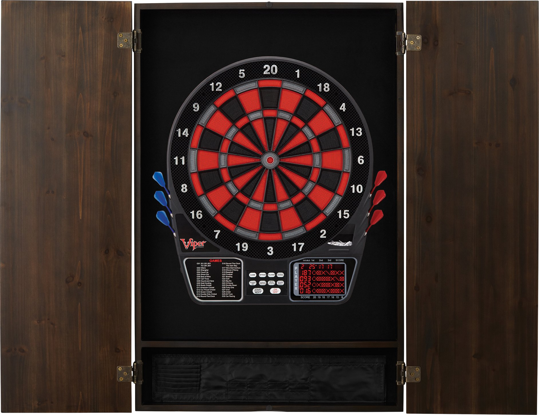 Viper Metropolitan Solid Wood Cabinet & Electronic Dartboard Ready-to-Play Bundle: Deluxe Set (797 Dartboard and Darts), Espresso Finish