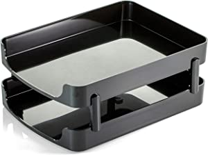 Newfield Studio Premium Front Load Tray, with Supports, Black, 2-Pack (02255)