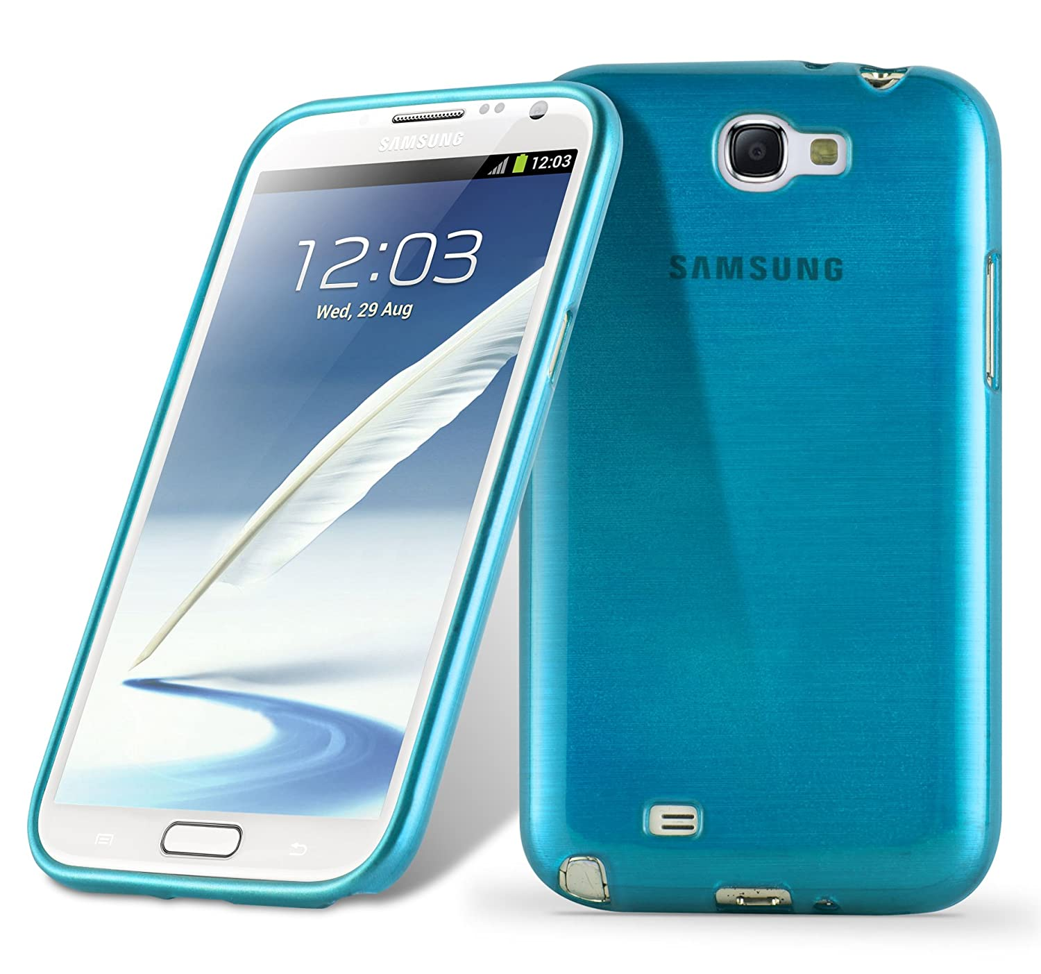 best cheap bb669 2281a Cadorabo Case Works with Samsung Galaxy Note 2 in Turquoise – Shockproof  and Scratch Resistant TPU Silicone Cover – Ultra Slim Protective Gel ...
