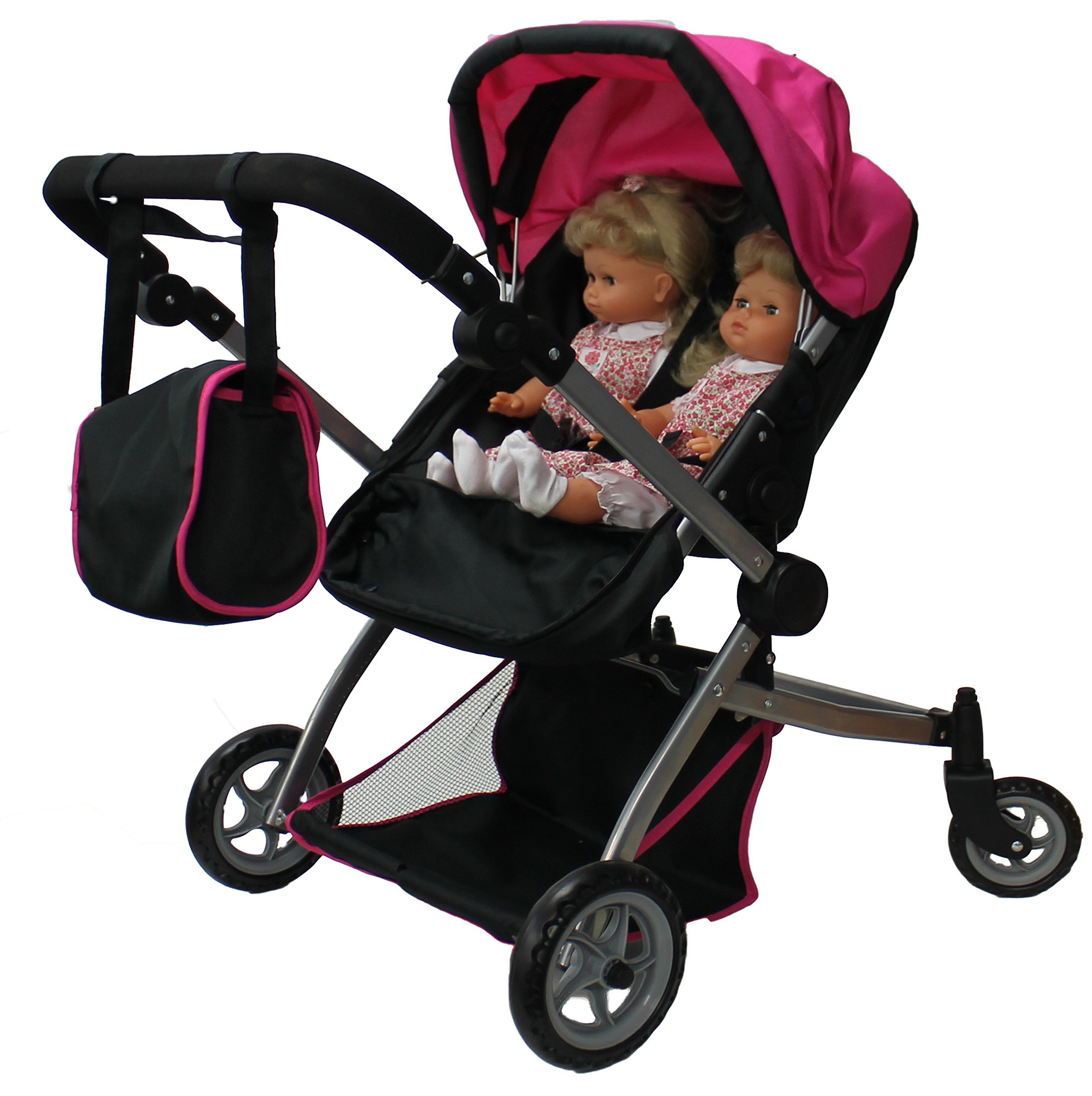 Babyboo Deluxe Twin Doll Pram Stroller with Free Carriage Multi Function View All s