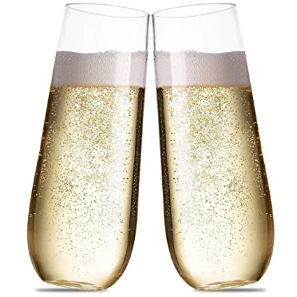 Plastic Champagne Flutes For Parties 9 Oz Set Of 15 Disposable Stemless