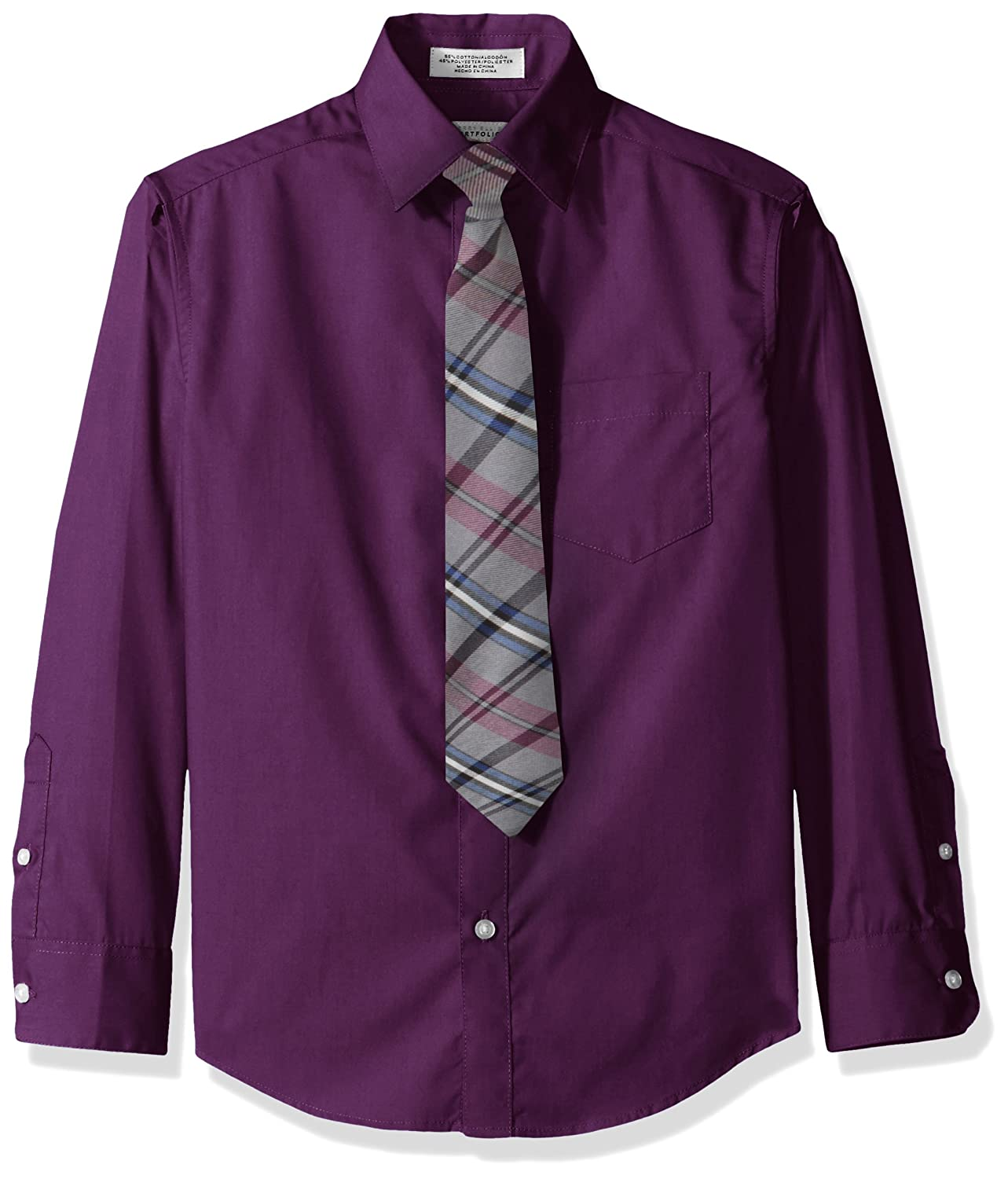 Perry Ellis Boys' SOLID BROADCLOTH PACKED SHIRT WITH TIE
