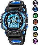 AZLAND 7 Colors Flashing Waterproof Outdoor Sports Kids Wristwatch Boys Girls Digital Watches Blue …