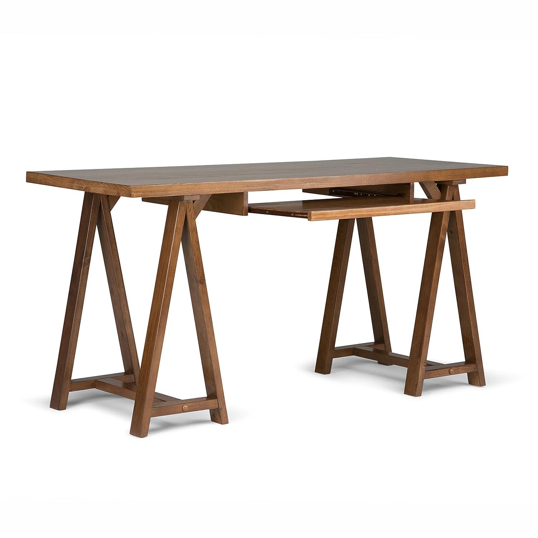 office desk wood. Amazon.com: Simpli Home Sawhorse Solid Wood Office Desk, Medium Saddle Brown: Kitchen \u0026 Dining Desk