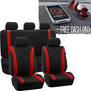 FH Group FH-FB054115 Red Cosmopolitan Flat Cloth Seat Covers, Airbag Compatible and Split Bench FH1002 Non-Slip Dash Grip Pad Mat- Fit Most Car, Truck, SUV, or Van