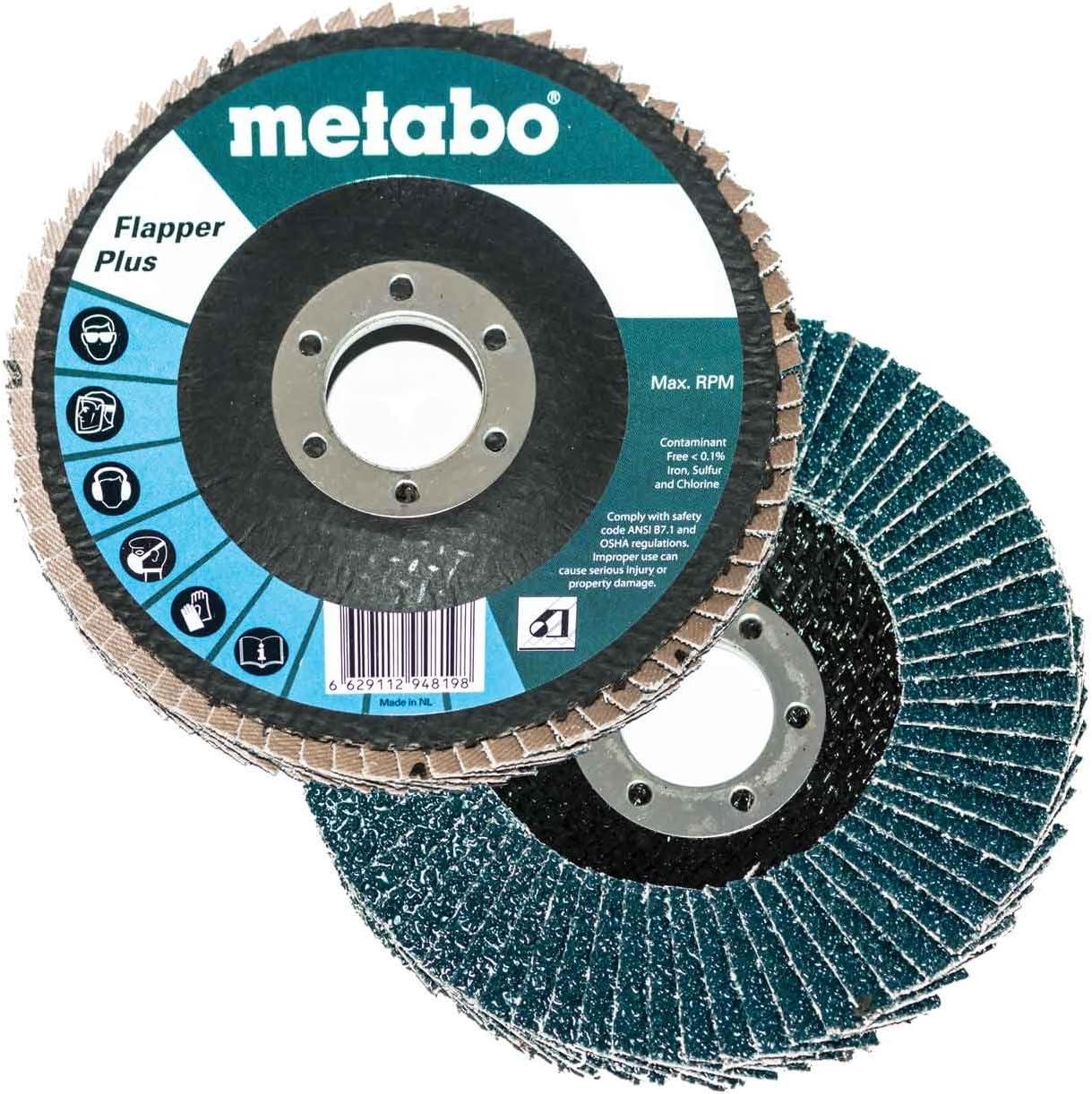 Metabo 629483000 4.5 x 7//8 Flapper Plus Abrasives Flap Discs 80 Grit 10 pack