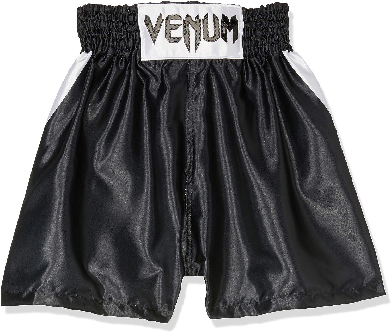 Venum Elite キッズ ボクシングショーツ ブラック/ホワイト 8 Years