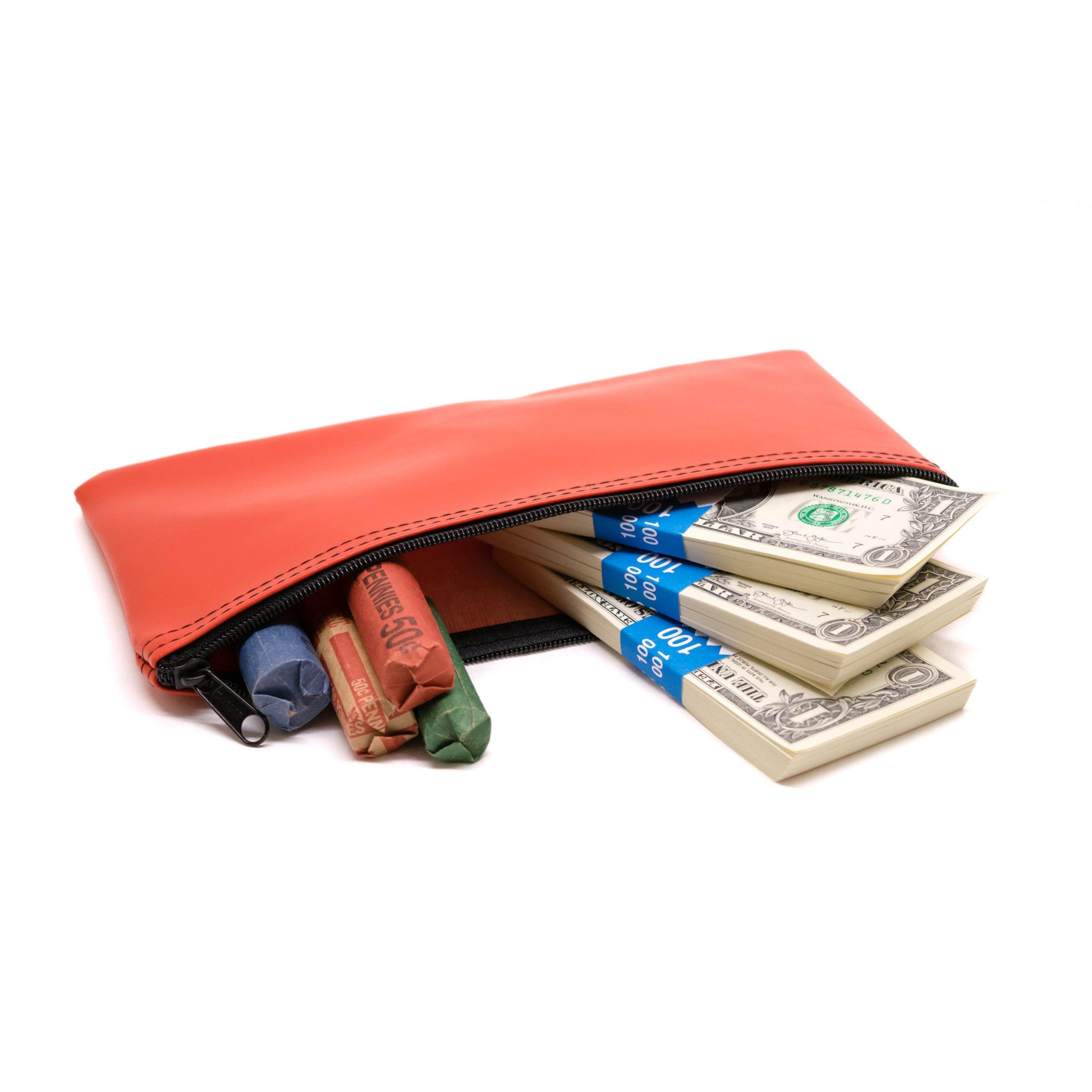 Zipper Bank Deposit Bag 5.5 X 10.5 Coin Check Money Wallet Red Pack of 10