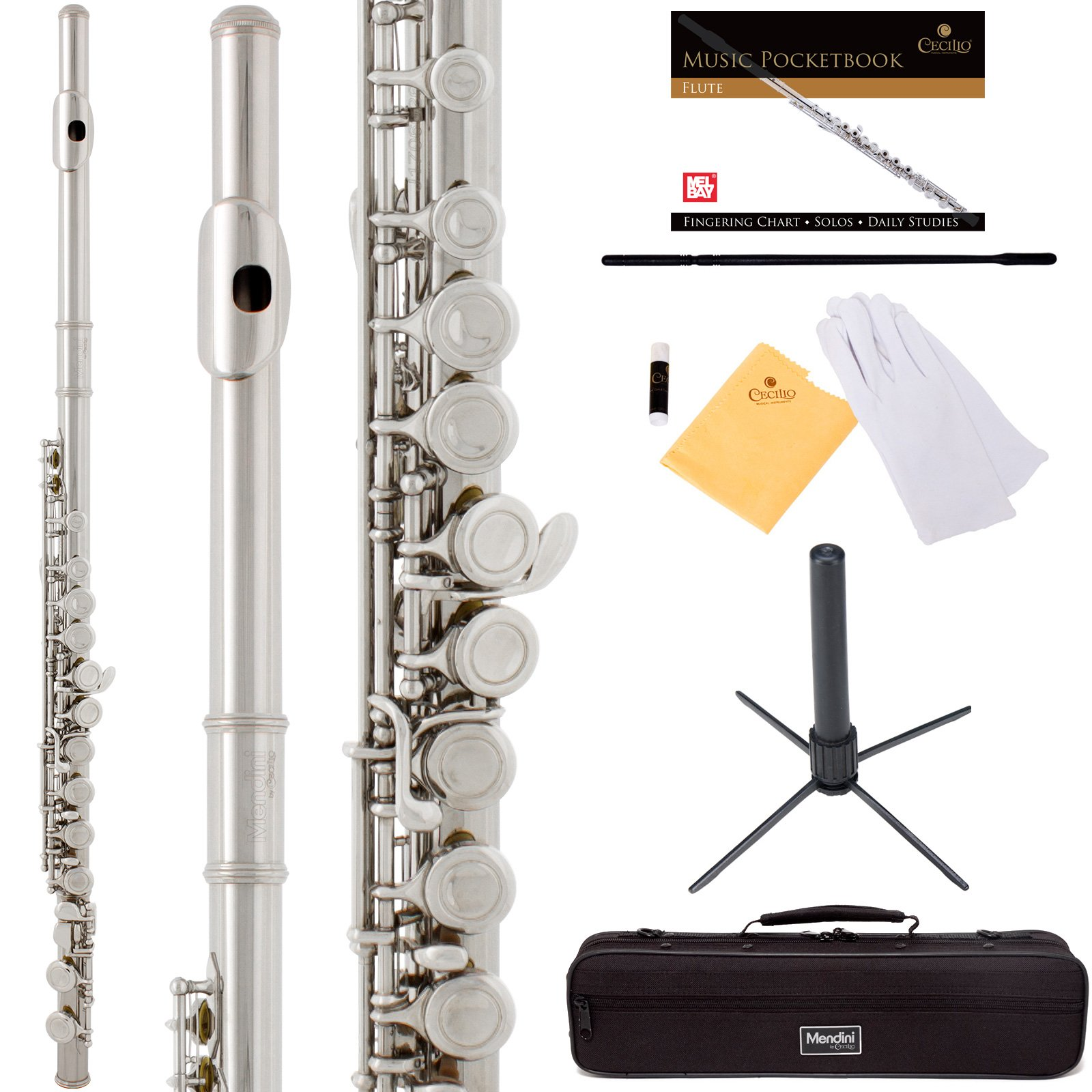 Mendini by Cecilio Premium Grade Closed Hole C Flute with Stand, Book, Deluxe Case and Warranty (Nickel Plated)