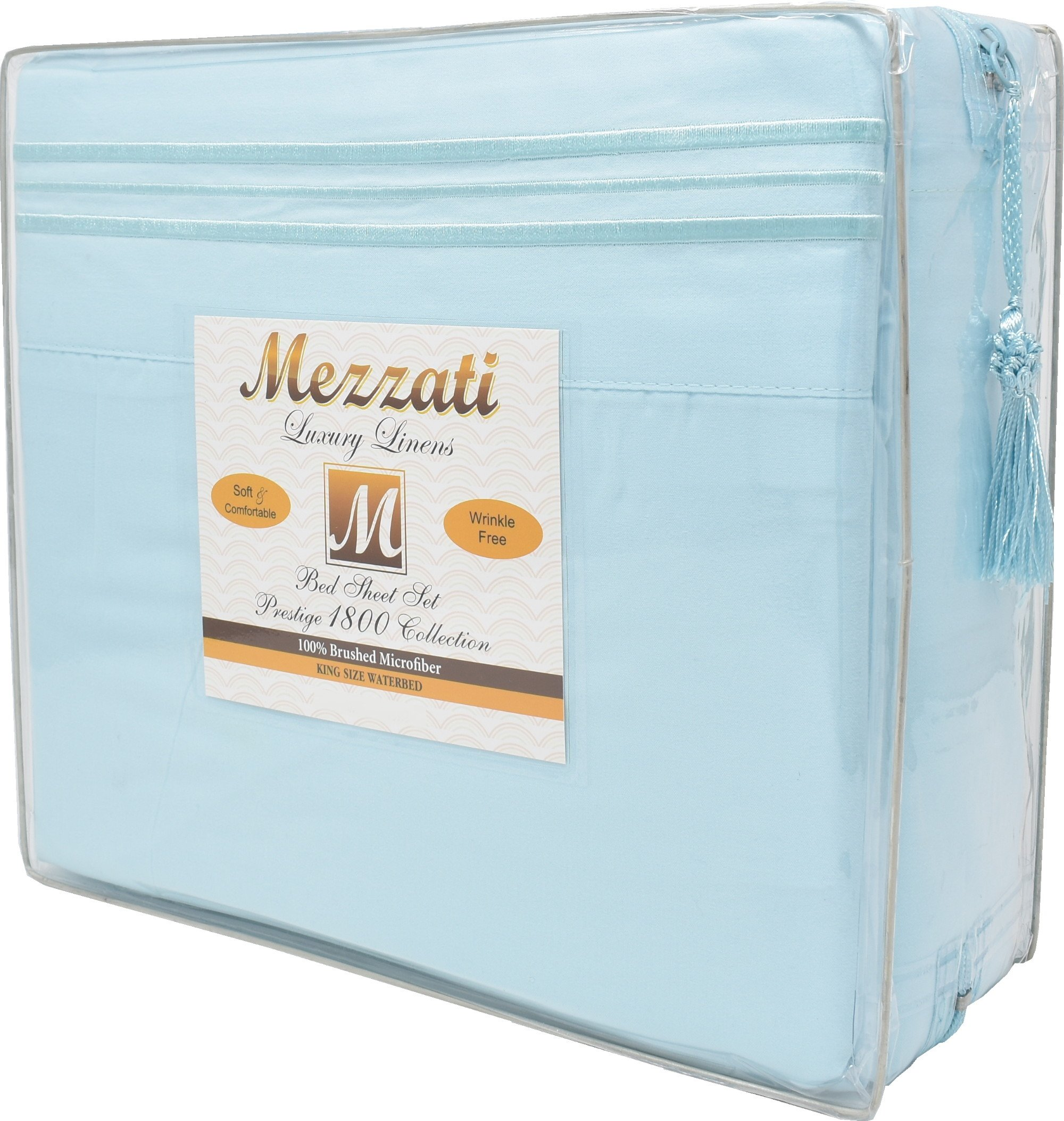 Mezzati Soft and Comfortable Waterbed Sheets Set – 1800 Prestige Brushed Microfiber Collection Bedding (Light Blue, King Unattached) by Mezzati (Image #2)
