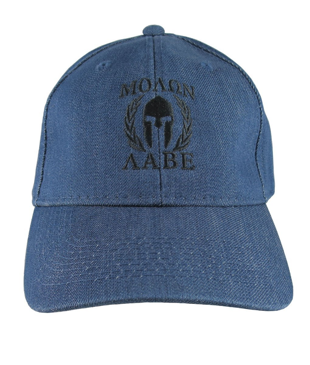 5fc85f58 Molon Labe Spartan Warrior Mask in Laurels Black Embroidery on an  Adjustable Blue Denim Structured Baseball Cap: Amazon.ca: Handmade