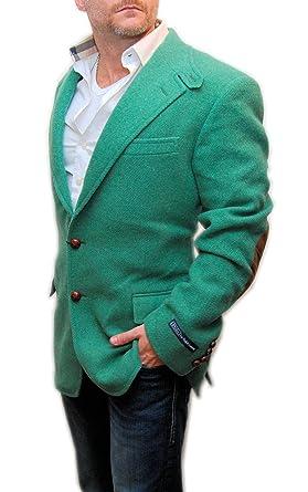 Polo Ralph Lauren Men Wool Tweed Suede Blazer Sport Coat Jacket Italy Green  42L