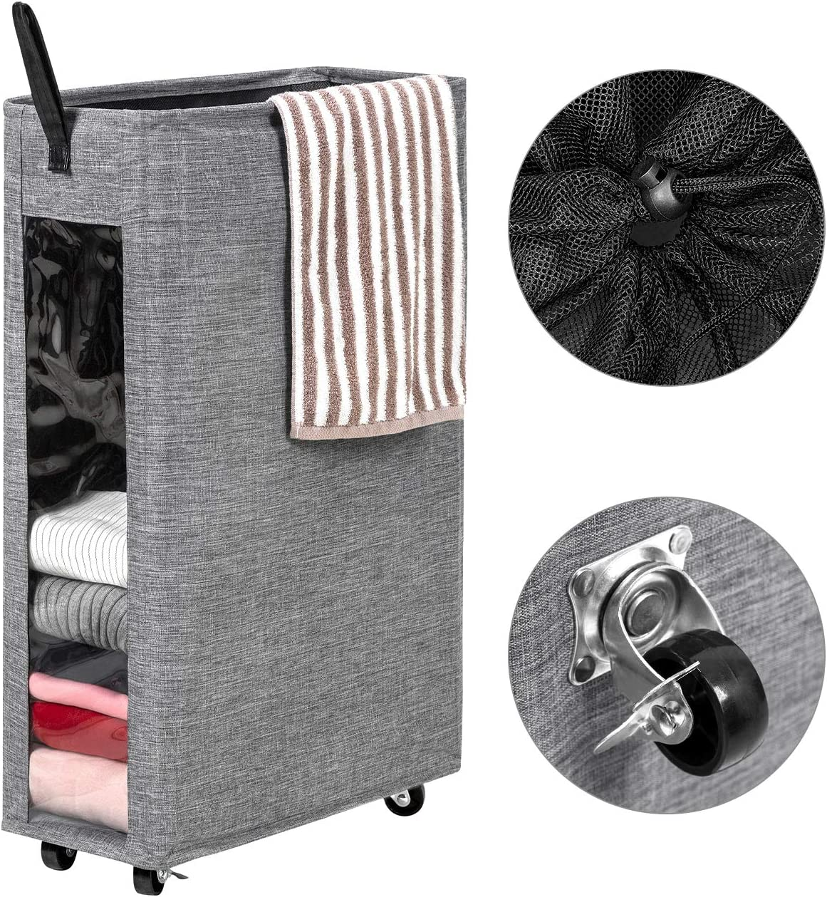 WOWLIVE 27 inches Slim Rolling Laundry Hamper with Wheels Tall Thin Laundry Basket with Clear Window Handy Collapsible Clothes Hamper Mesh Cover Rectangular Storage Corner Bin (Grey2)