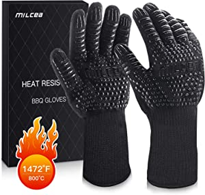 MILcea BBQ Grill Gloves 1472°F Extreme Heat Resistant Non-Slip Oven Gloves, with Cut Resistant, Durable Fireproof Kitchen Oven Mitts Universal Size for Barbecue, Baking, Frying, Welding, Cutting
