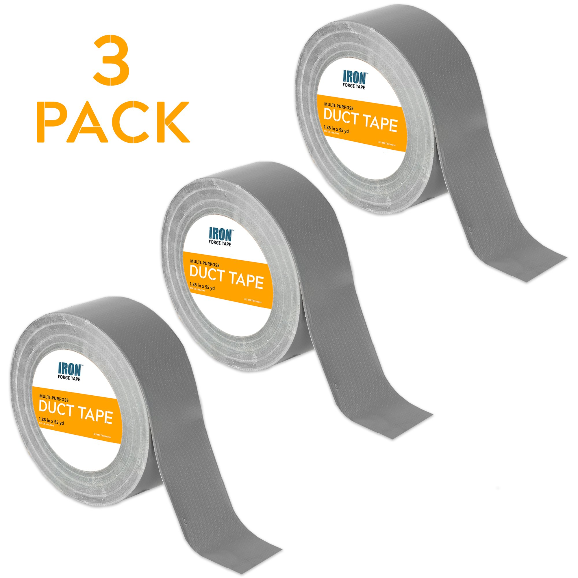 Duct Tape Roll 3 Pack for HVAC, Air Ducts & More - 1.88 Inch x 55 Yards