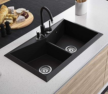 Black Kitchen Sink Lavello Diamond 200LT 31\