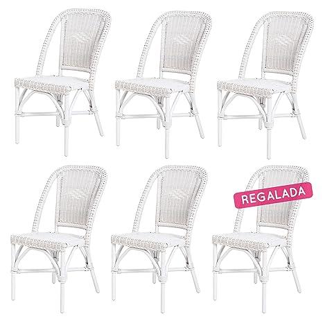 Rotin Design Rebajas : -43% Lote 6 sillas de ratán Blancas Baratas para Comedor