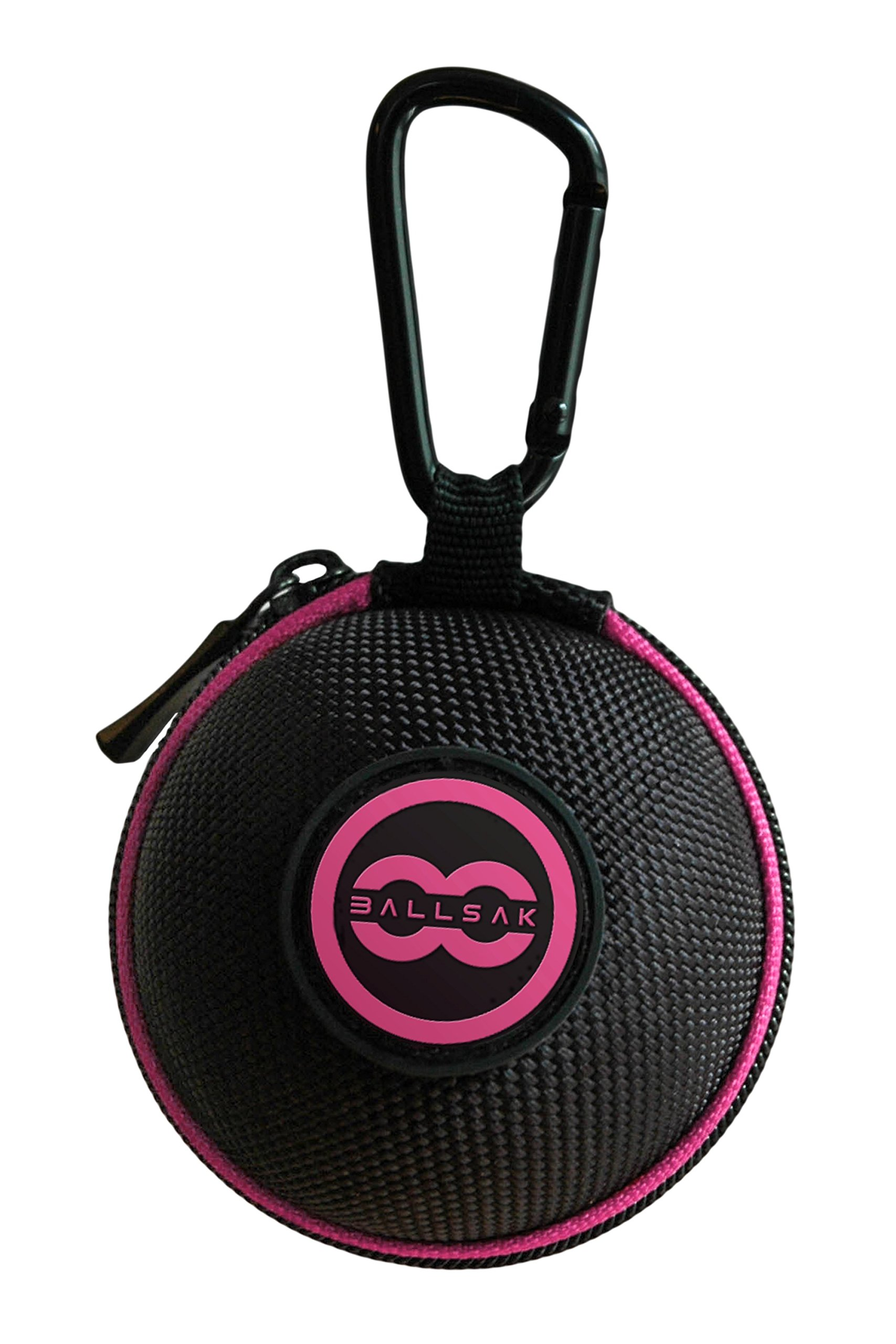 Ballsak Sport - Pink/Black - Clip-on Cue Ball Case, Cue Ball Bag for Attaching Cue Balls, Pool Balls, Billiard Balls, Training Balls to Your Cue Stick Bag EXTRA STRONG STRAP DESIGN!