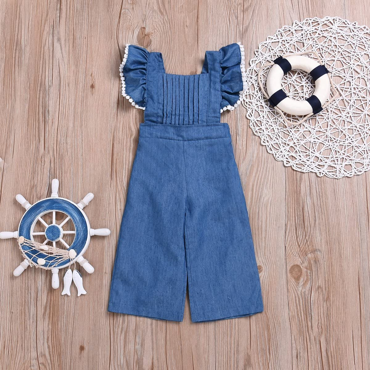 Mubineo Toddler Baby Girl Ruffle Sleeve Bell Bottom Demin Romper Jumpsuit Jeans Pants
