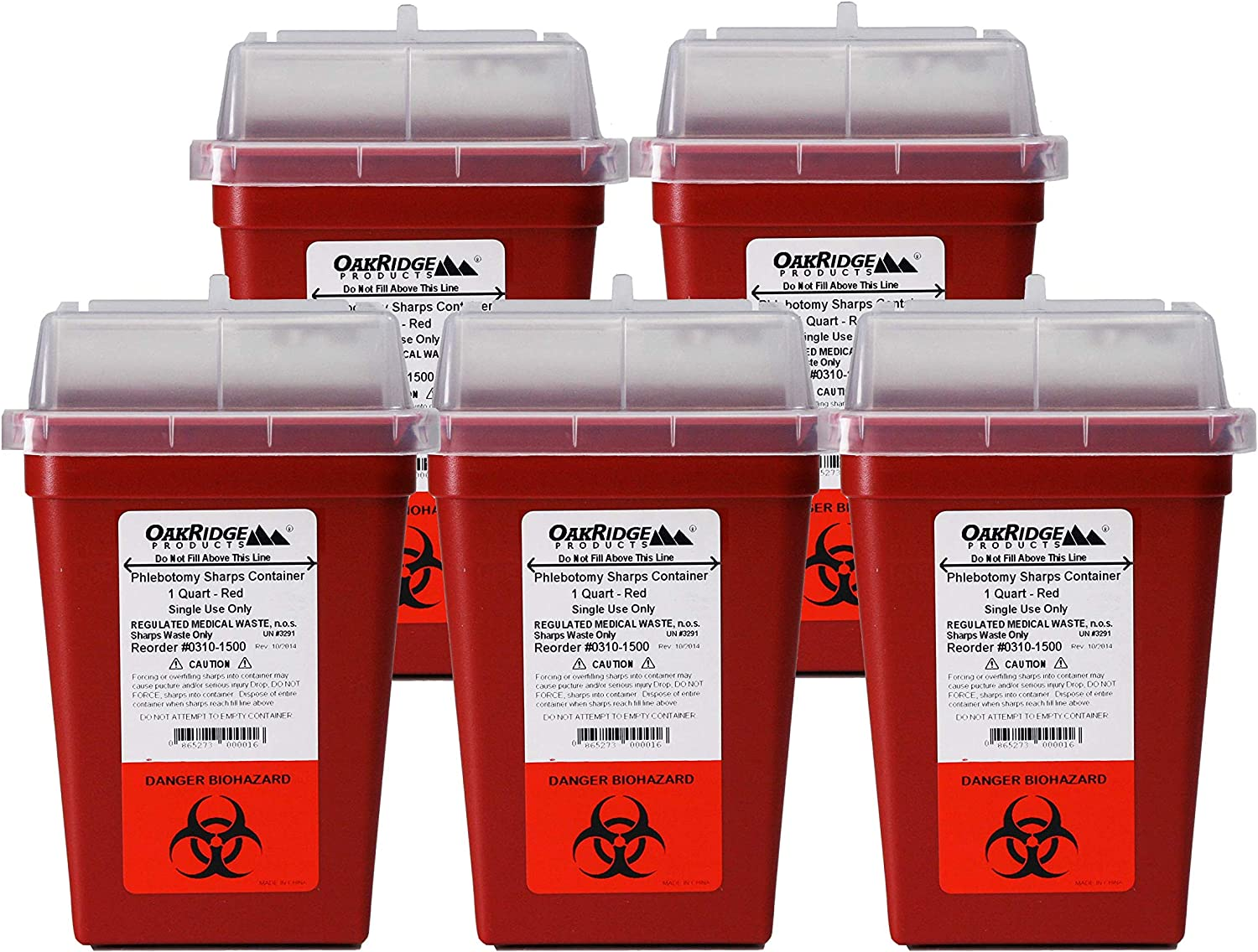 OakRidge Products 1 Quart Size (Pack of 10) | Sharps Disposal Container